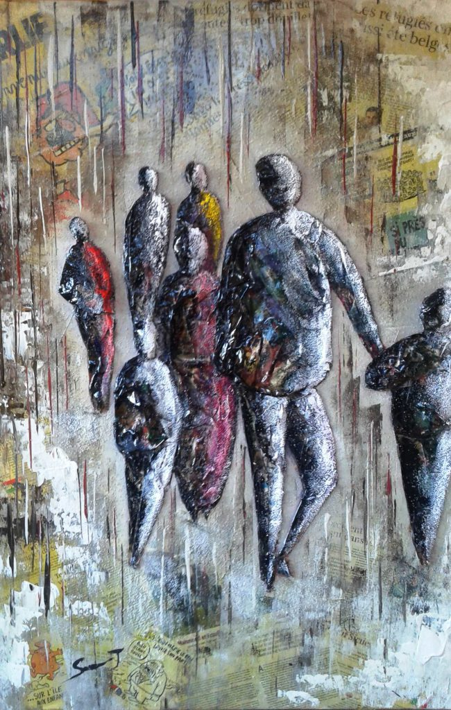Les migrants Dimensions 70 x 100 Contemporain