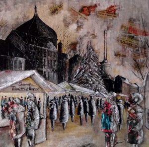 Marché de Noël 90 x 90 cm Contemporain