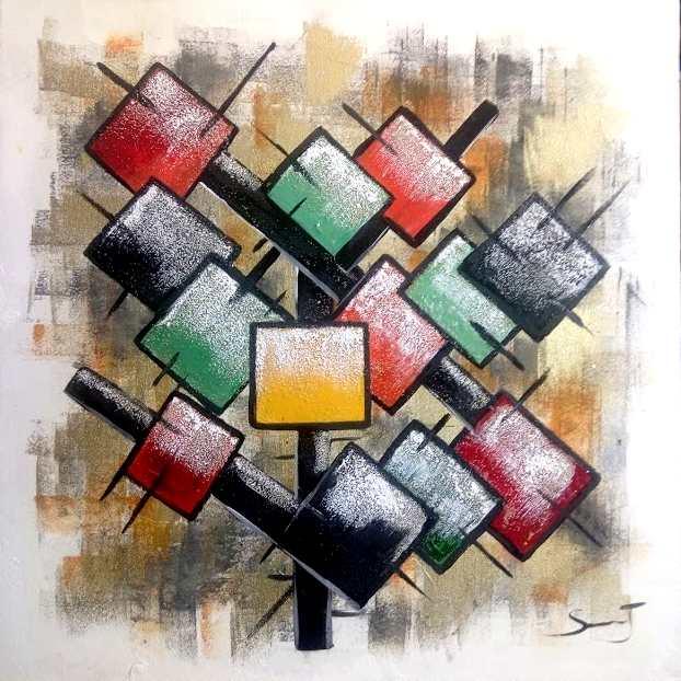 Arbre de vie Dimensions 50 x 50 cm Abstrait