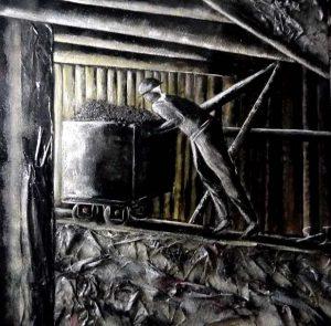 Berline de mine - Dimensions 100 x 100 - Contemporain