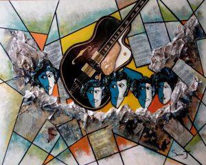 Les choristes de Johnny - Dimensions 80 x 100 cm
