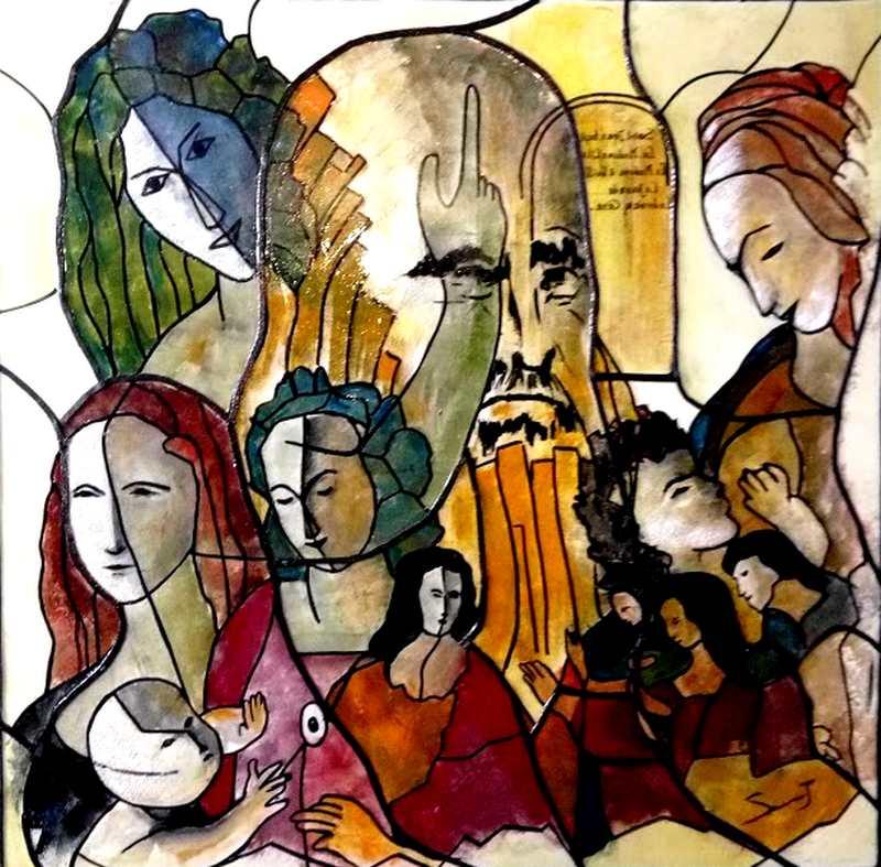 Composition mixte - Série Leonardo Da vinci - 100 x 100 cm