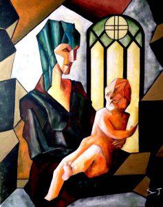 La vierge et l'enfant - Série Leonardo Da Vinci - 80 x 100 cm