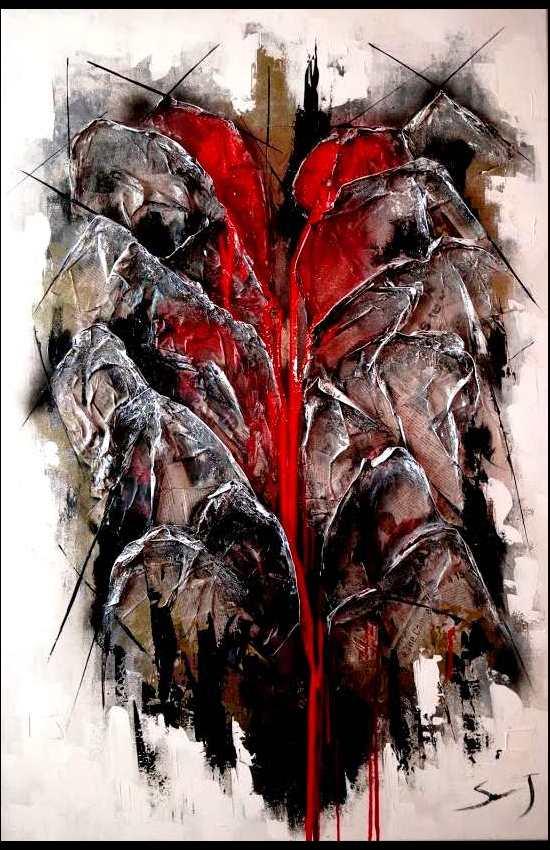 In sanguinem nostrum de terra 80 x 120 cm